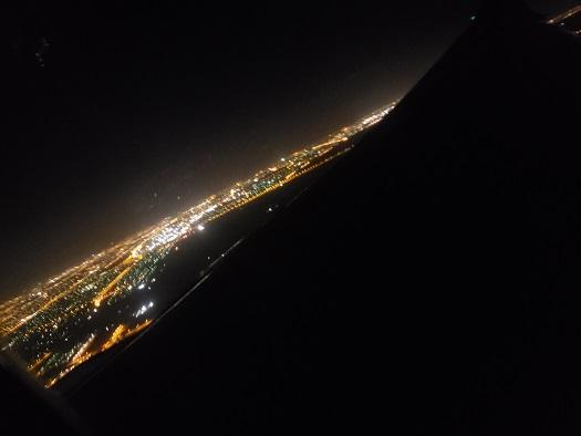 夜明け前のパース上空からの眺め