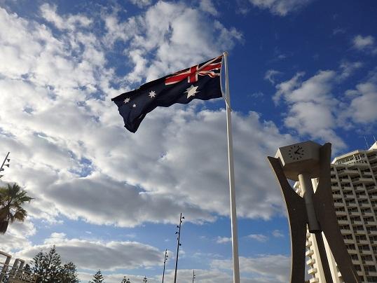 スカボロビーチのオーストラリア国旗