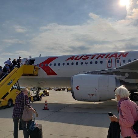 コペンハーゲン行きオーストリア航空機