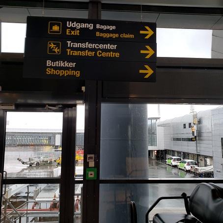 コペンハーゲン空港の案内板