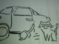 近づくニャ にゃんこが見張る 我が動向 #jhaiku 近づいたら車の下に逃げ