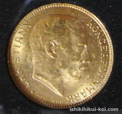 デンマーク クリスチャン10世像 20クローナ金貨 1916年(表面)