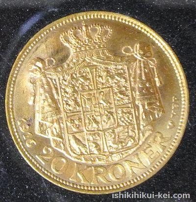デンマーク クリスチャン10世像 20クローナ金貨 1916年(裏面)