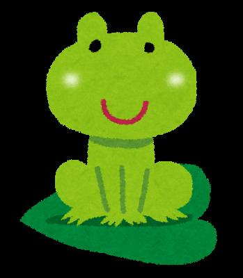 葉っぱに乗った蛙