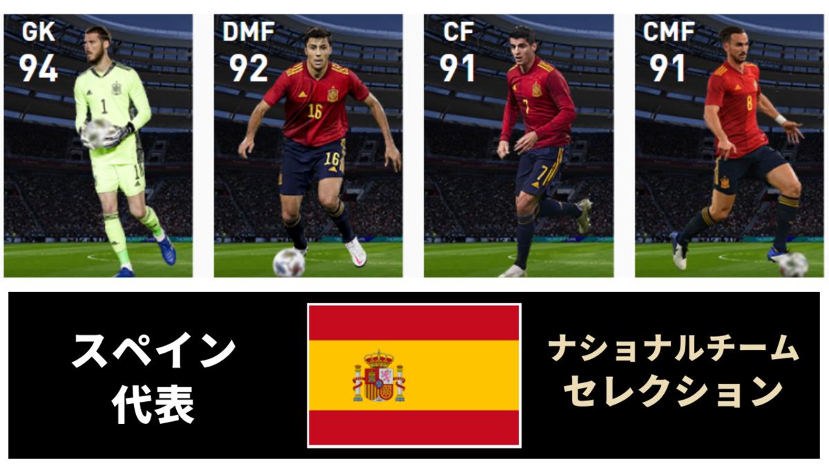 【ウイイレ FP】スペイン ナショナルチームセレクション  全選手レベマ能力と当たりランキング【NS 7月5日】