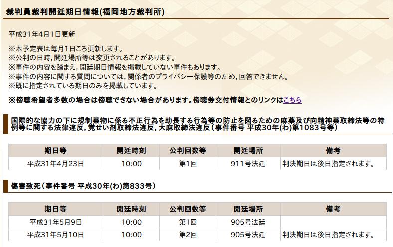 2019/4/1時点での福岡地裁で行われる裁判官裁判の予定