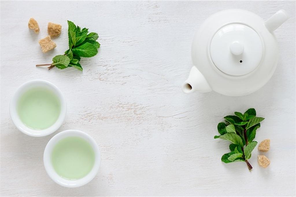 コップに注がれた緑茶