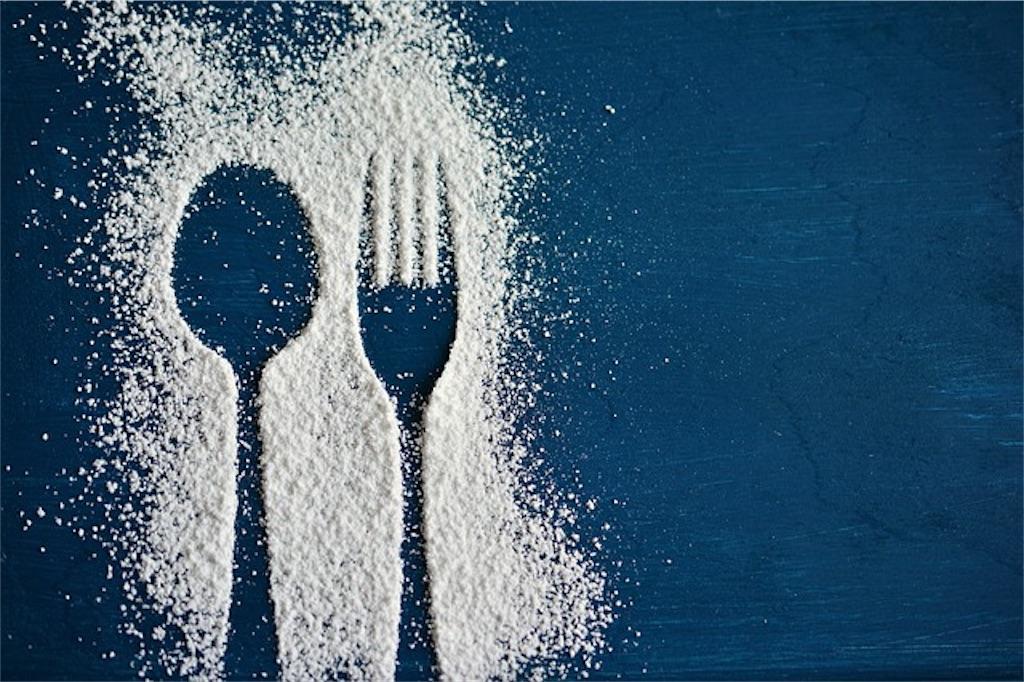 ナイフとフォークが粉で描かれている