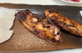 ウマヅラハギのニンニク醤油焼き