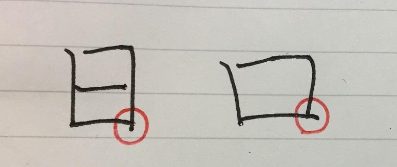 オンスクボールペン字練習 漢字2「日」「口」の突き出し方
