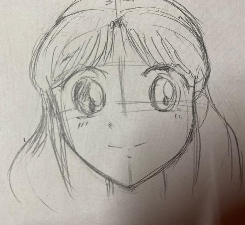 イラスト初心者向け 女性の顔(正面)