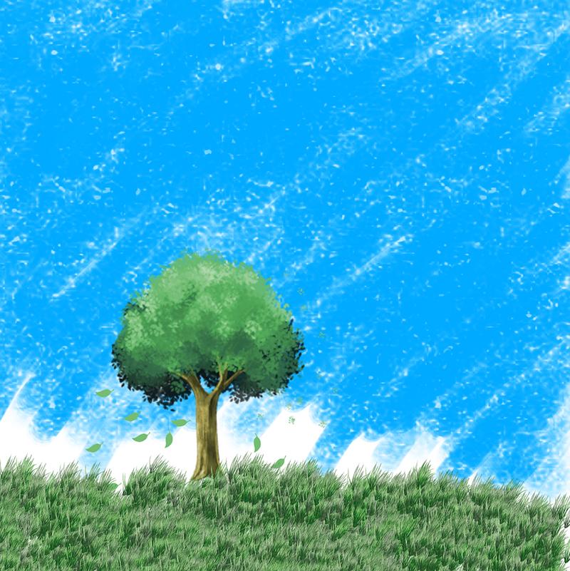 アイビスペイント 木ブラシと草ブラシを使用した作例