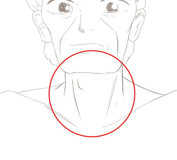 おじさんの描き方 首