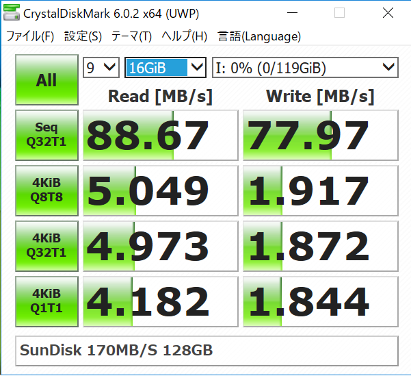 SanDisk サンディスク Extreme Pro SDXC 128GB を通常のカードリーダーで読み込み