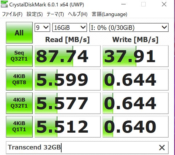 Transcend SDHCカード 32GB Class10 UHS-I対応をカードリーダーで読み込み