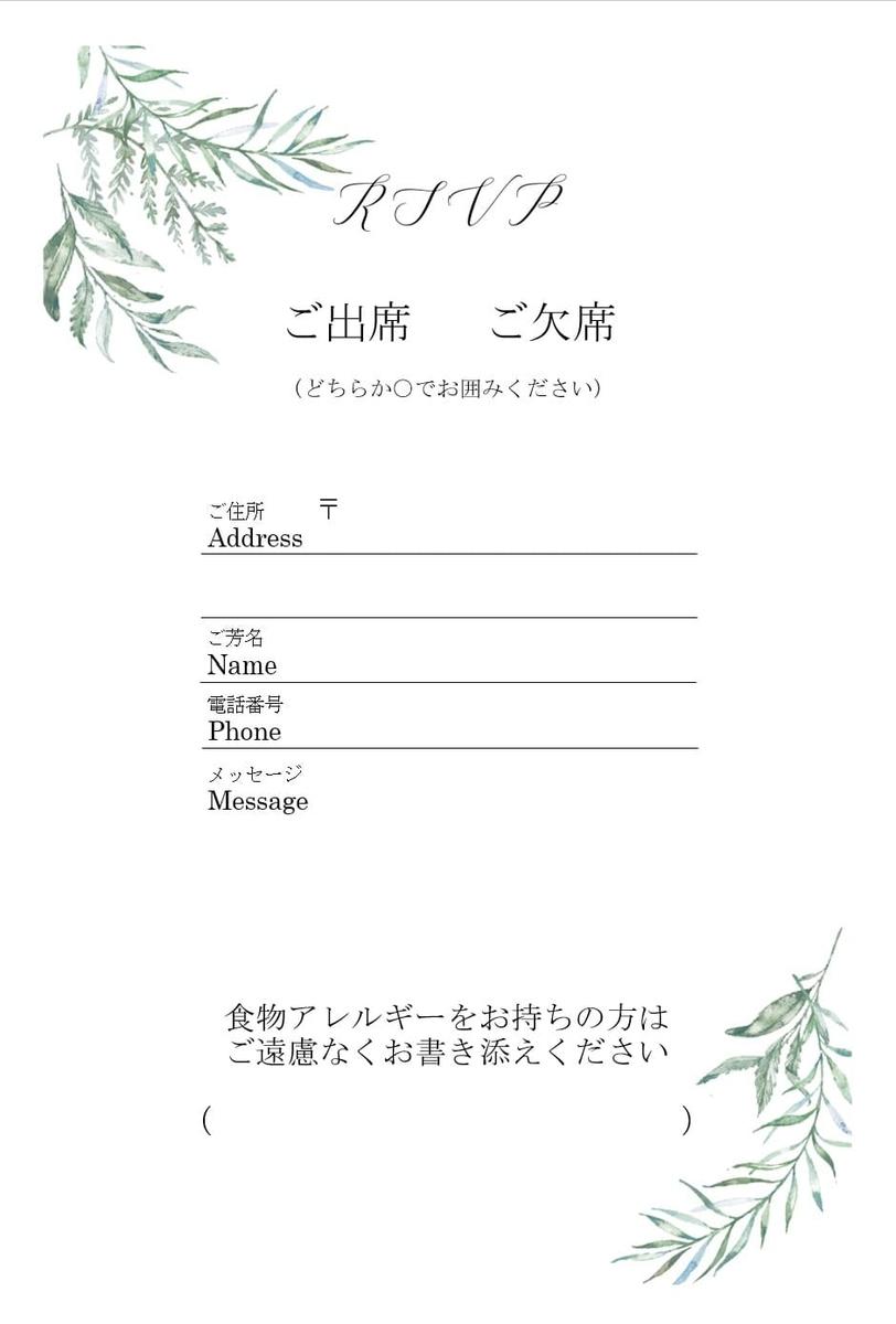 招待状のアレルギー記入箇所