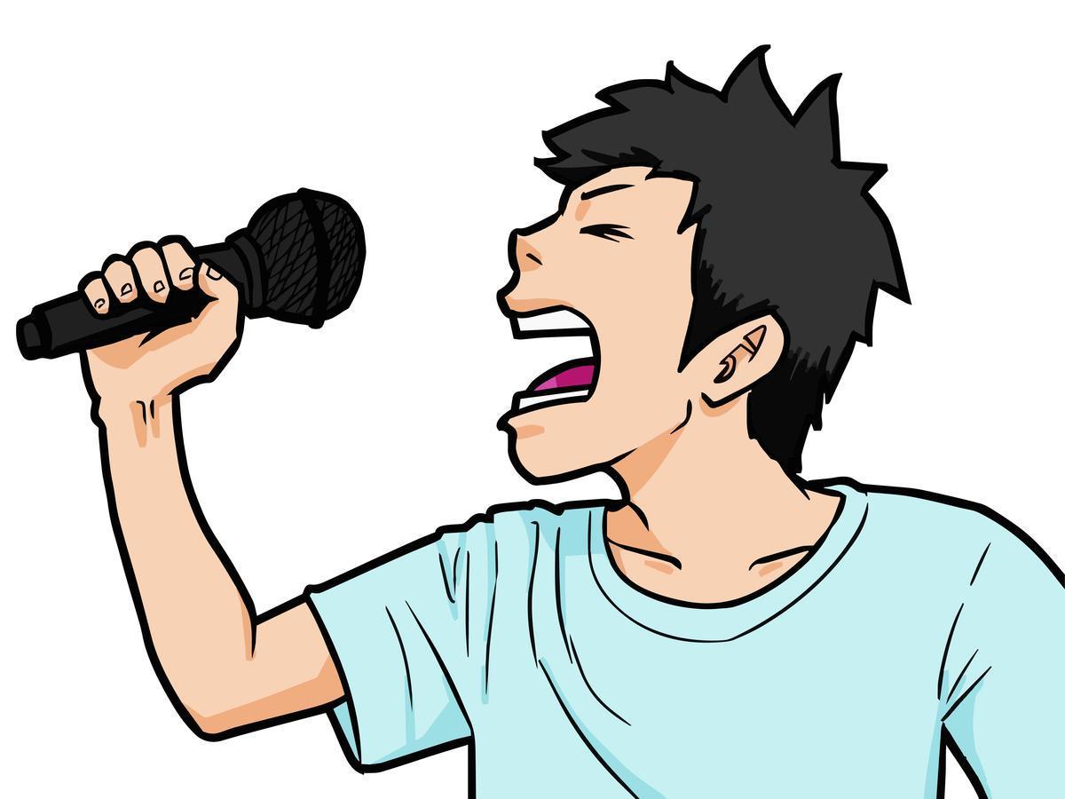 カラオケで熱唱する若者