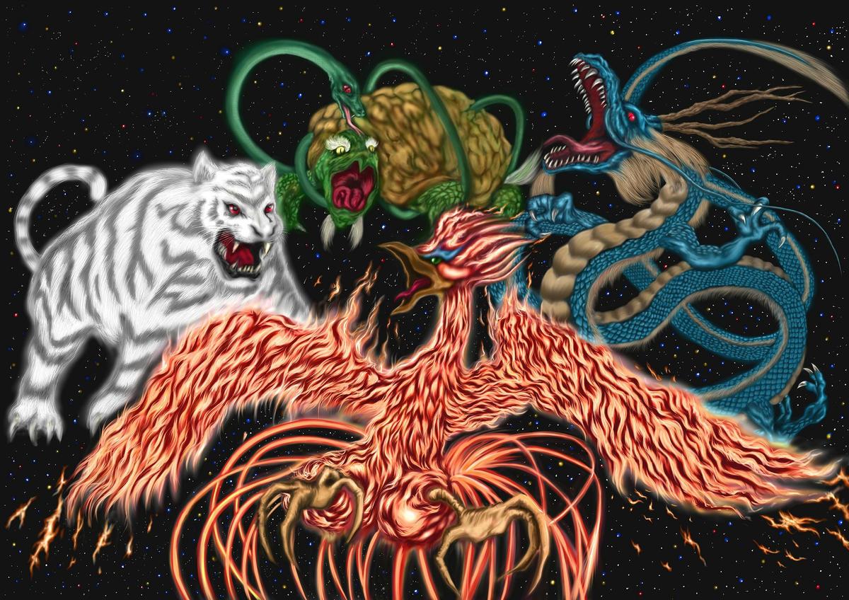 左から「白虎」「朱雀」「玄武」「青龍」