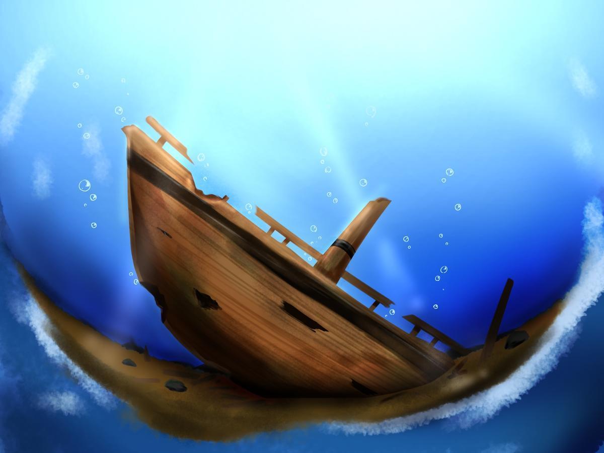 水底に沈む船