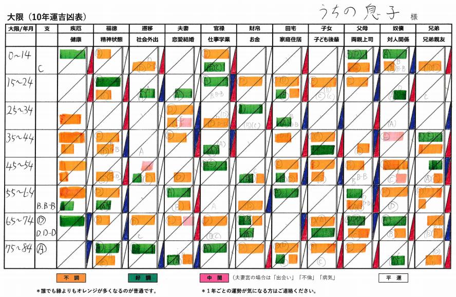 息子の大限(10年運)表