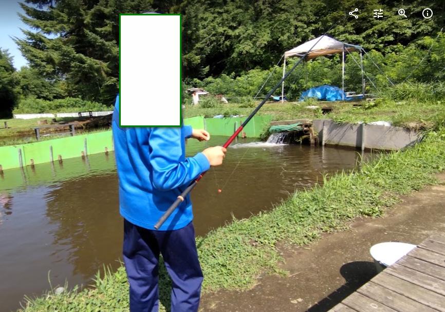 息子と釣り堀