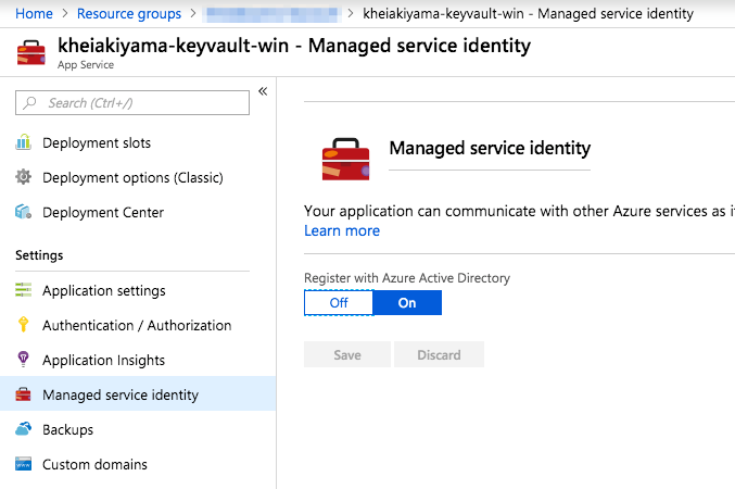 App Service Register with Azure Active Directory