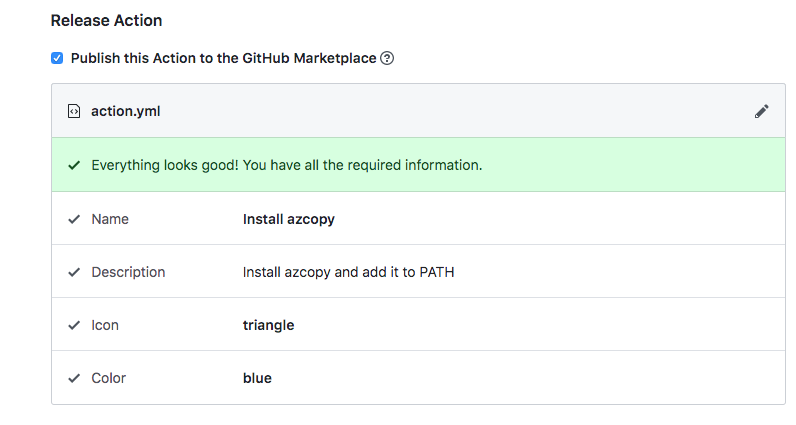 GitHub Actions publish action.yml