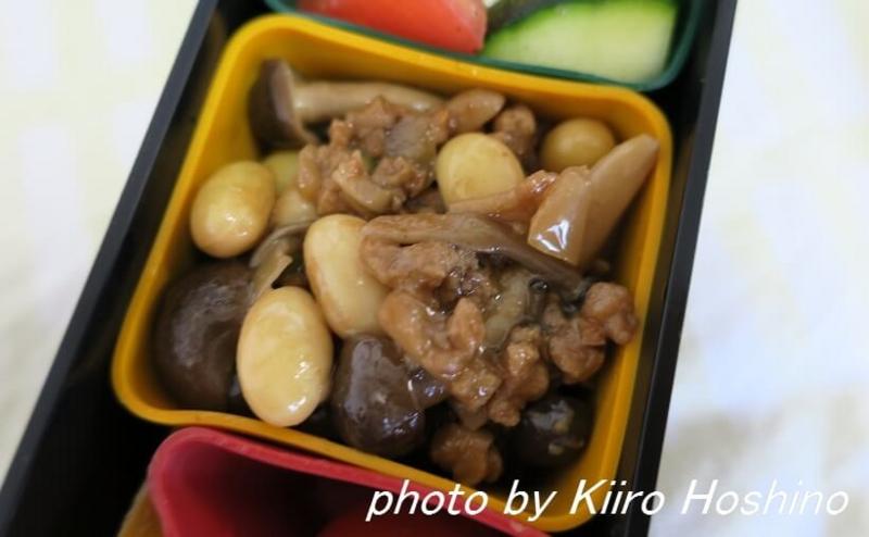 お弁当、2016-7-14、しめじの肉味噌和え