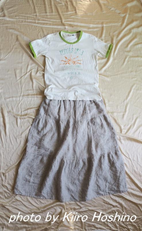 2016真夏コーデ、Tシャツとロングスカート