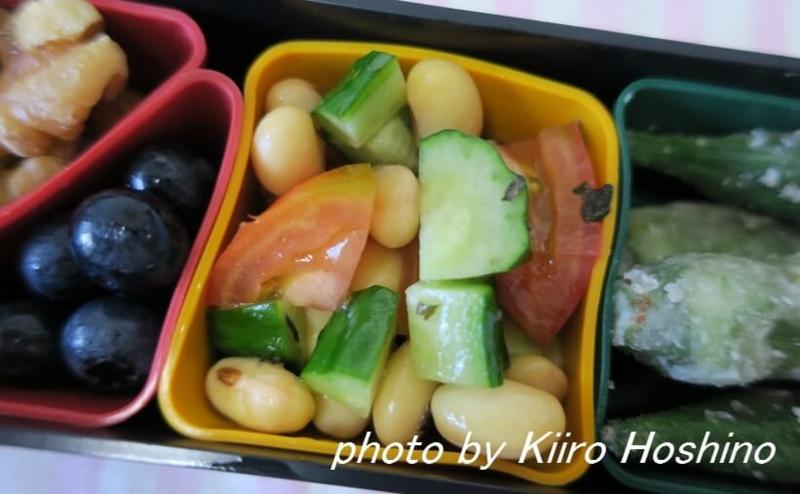 お弁当、2016-8-10、蒸し豆サラダ