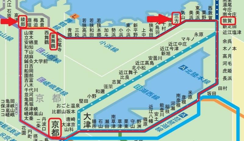 青春18京都・若狭、路線図(後編)