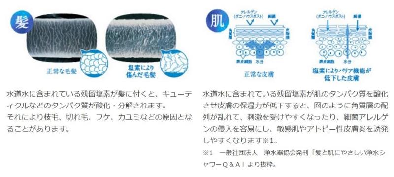 シャワー浄水器、残留塩素影響 byトレシャワーサイト