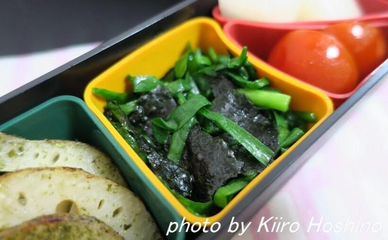 お弁当、2016-10-3、ニラ海苔ナムル