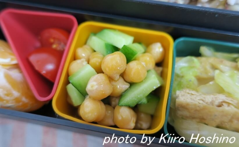お弁当、2016-10-11、ひよこ豆サラダ
