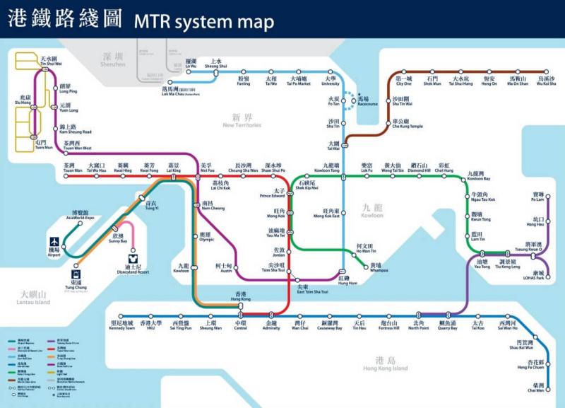 香港、MTR路線図
