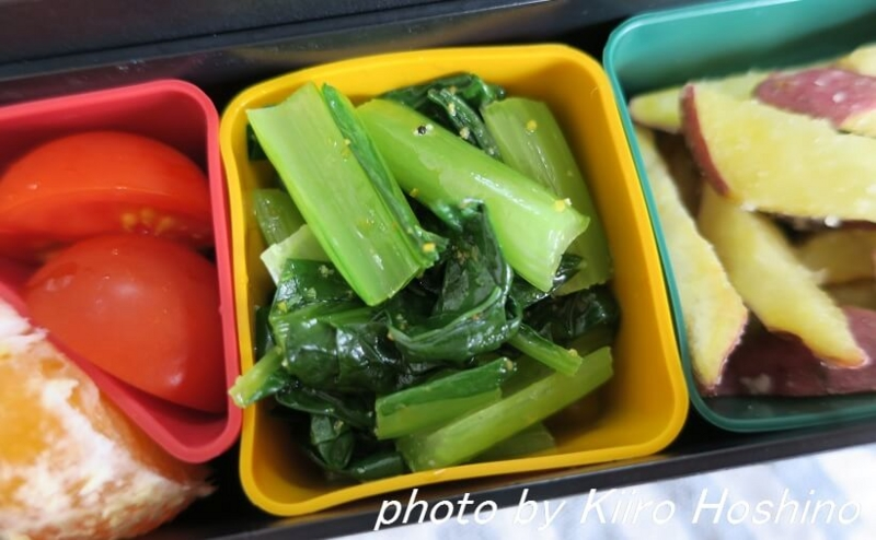 お弁当、2016-11-1、小松菜ナムル