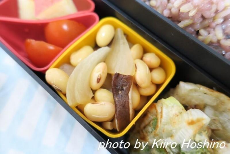 お弁当、2016-11-9、蒸し野菜の大豆和え