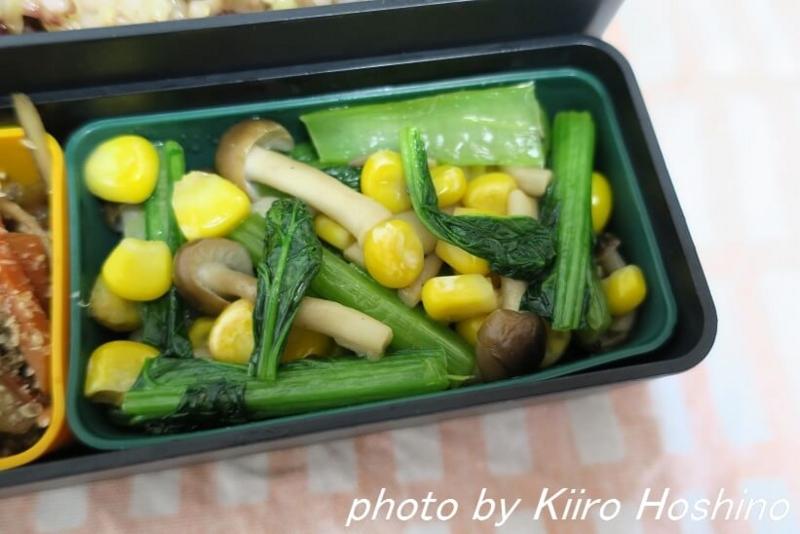 お弁当、2016-11-16、小松菜の洋風炒め