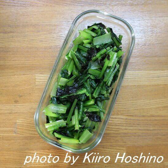 作り置き、小松菜の海苔和えwithオリーブオイル