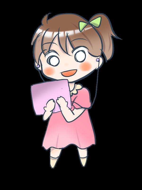 iPadを持つキャラクター