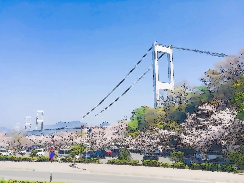 橋と桜の写真イラスト