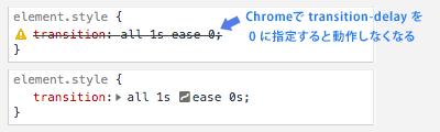 Chrome transition 効かなくなる問題