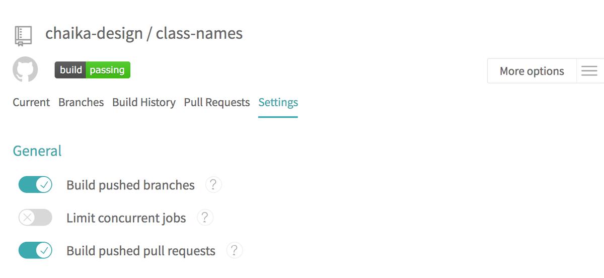 Travas CI settings