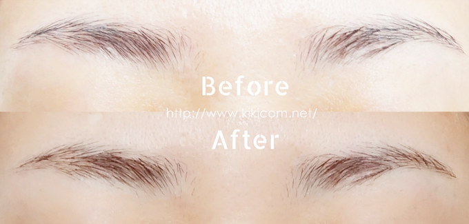 エピラット 敏感肌用で眉毛脱色した眉毛と脱色する前の眉を比較