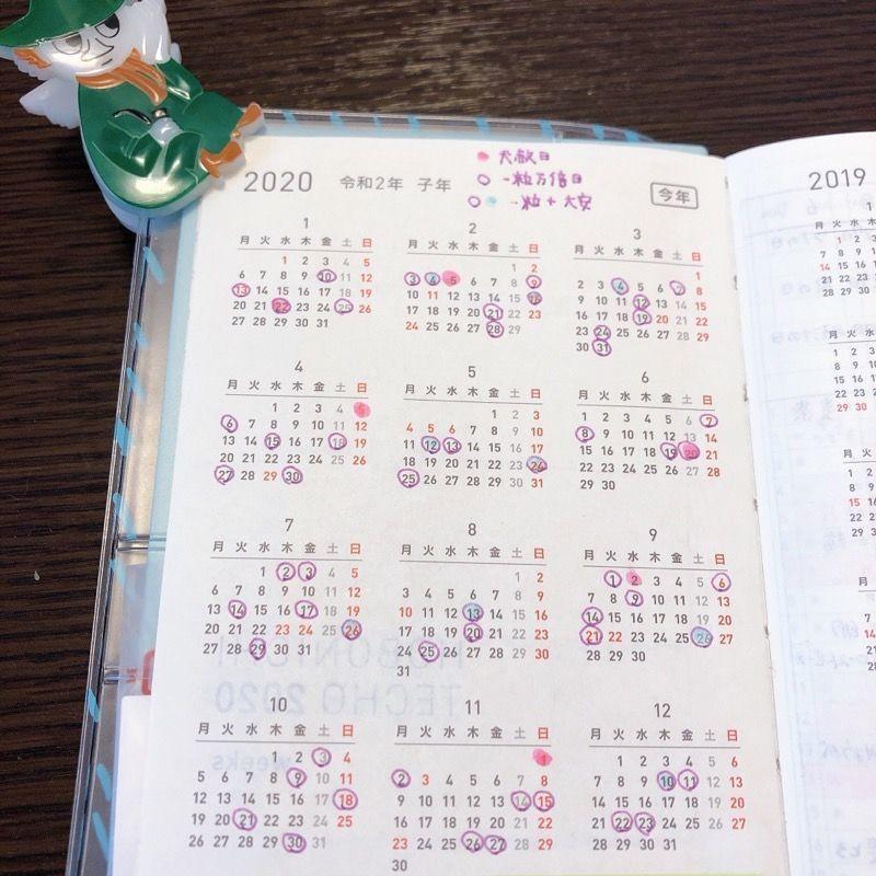 ほぼ日手帳weeks年間インデックスのページ。縁起の良い日にマークがついている