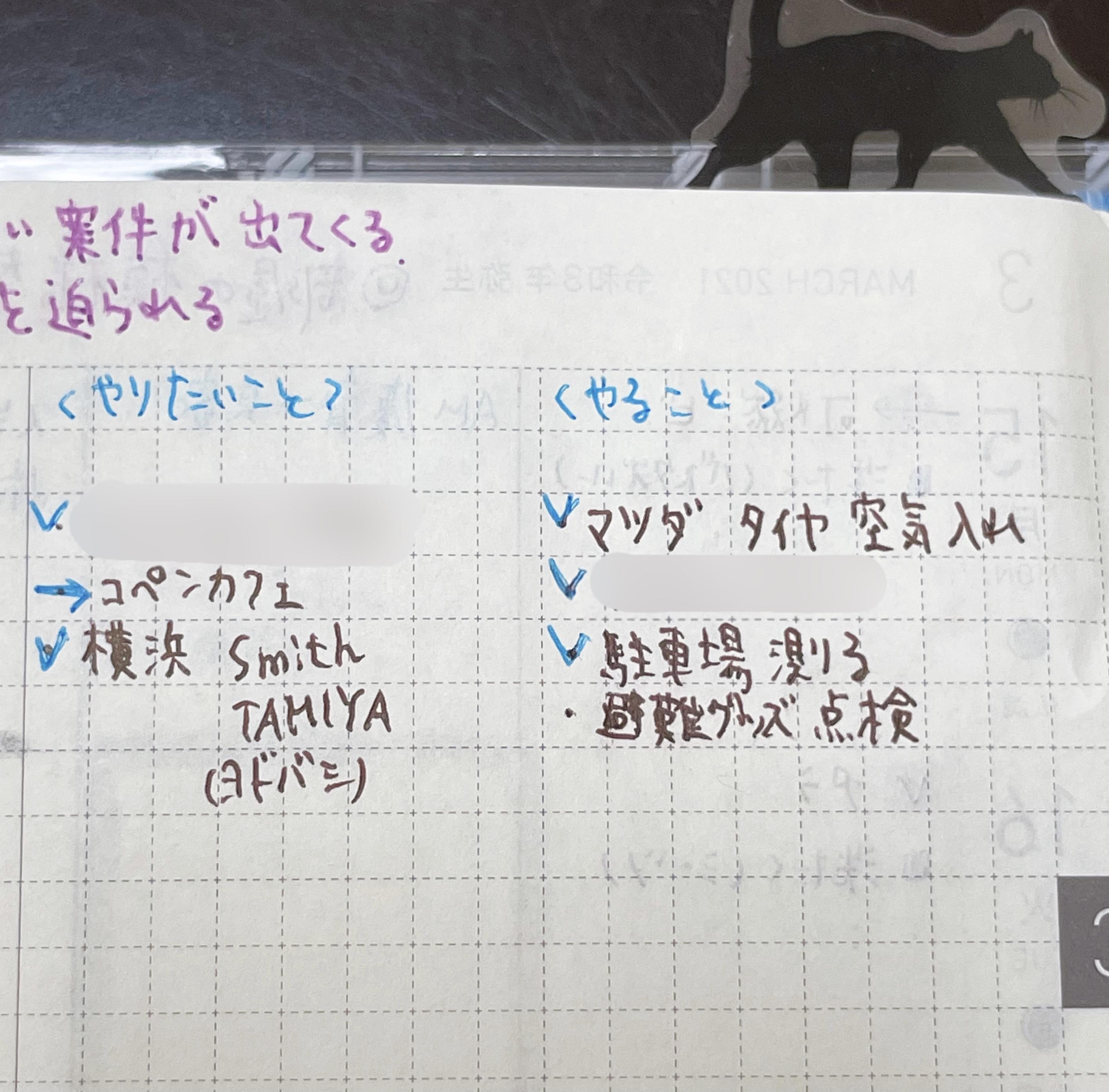 手帳の誌面、中央で二つに分割し、左側にやりたいこと、右側にやることが書いてある