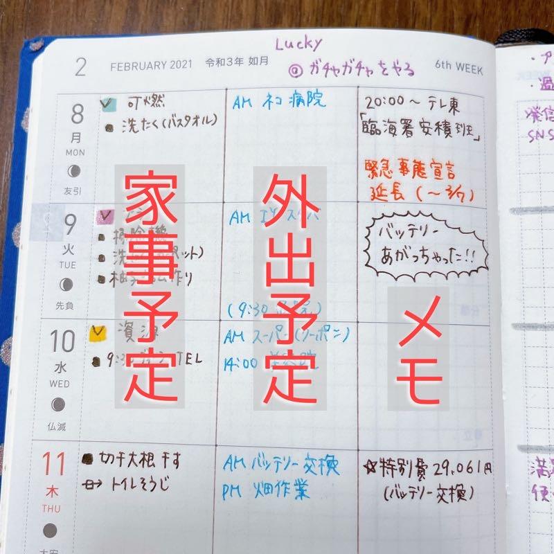 手帳の誌面を縦に3つに分け、左から家事予定、外出予定、メモと分割している写真