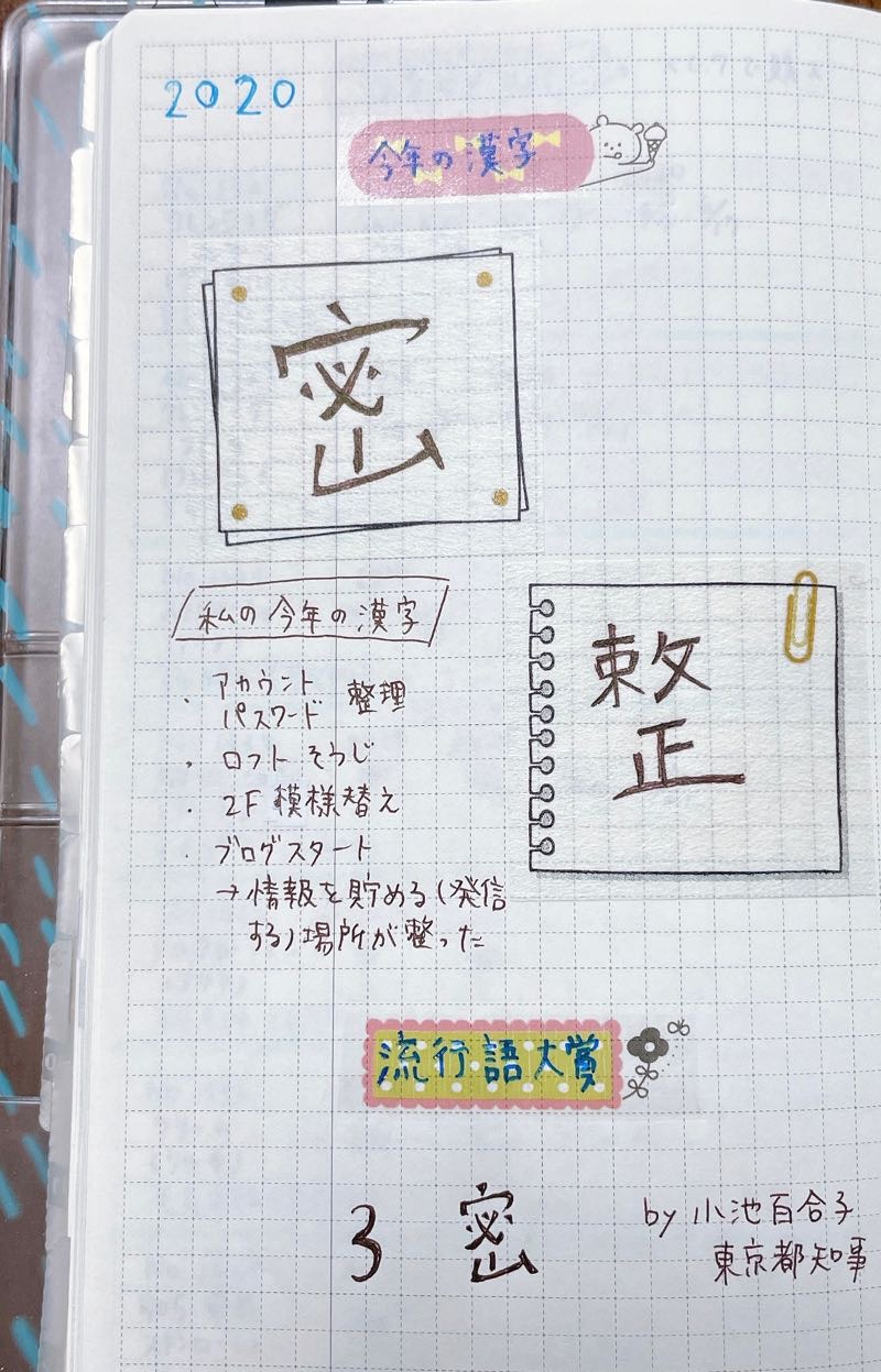 手帳の中身の写真。上部に「今年の漢字 密」中段に「私の漢字 整」下段に「流行語大賞 3密」と書いてある