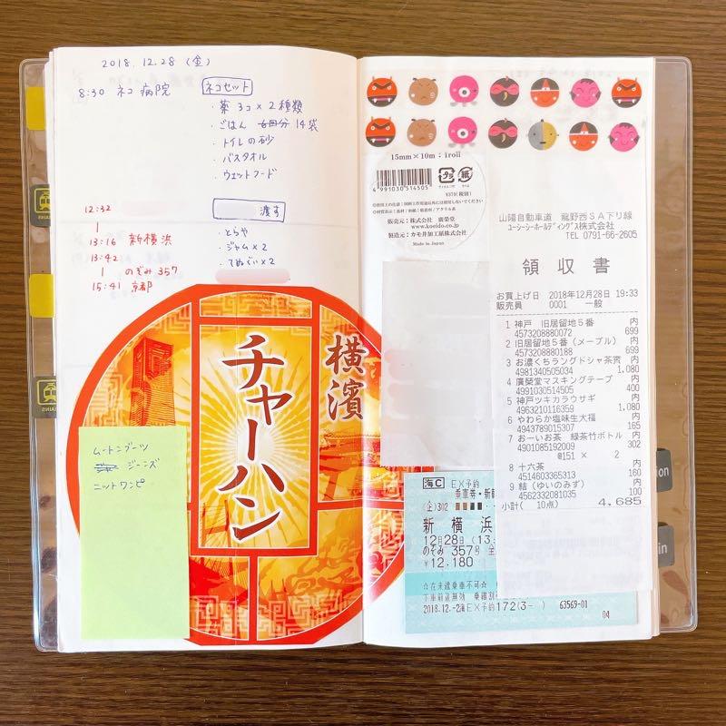 帰省ノートの中身。崎陽軒のチャーハン弁当のパッケージ、新幹線の切符、ご当地マスキングテープ、レシートが貼ってある