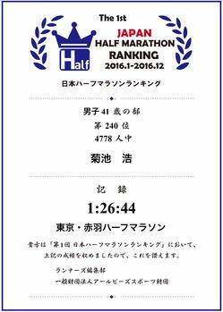 2016年ハーフマラソンランキング